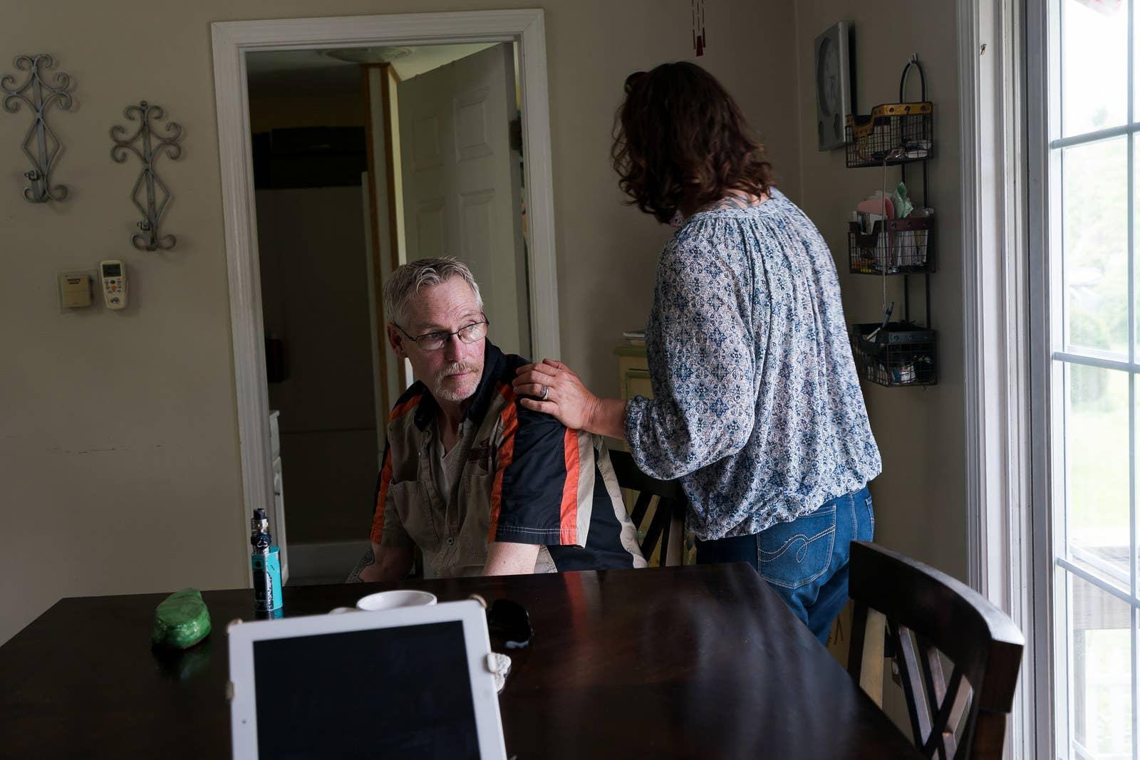 True and her husband, John Wolstenhulme, at their home in Maine.