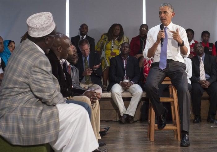 Then-president Barack Obama speaks in Nairobi on July 26, 2015.