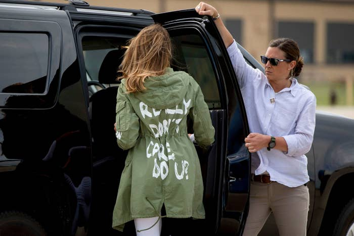 """First lady Melania Trump walks to her vehicle while wearing a jacket that reads, """"I REALLY DON'T CARE, DO U?"""" after visiting the Upbring New Hope Children's Center in McAllen, Texas, on June 21."""
