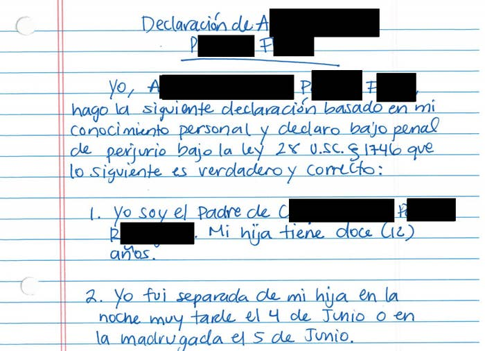 Handwritten declaration by A.P.F., a migrant parent held in immigration detention seeking to be reunited with his daughter.