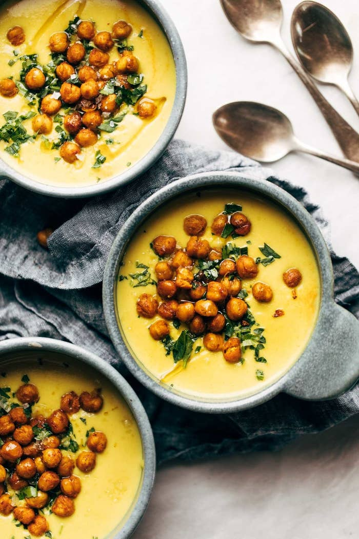 This nourishing soup only takes around 25 minutes to make, and blends cauliflower, garlic, cashews, and of course, golden turmeric. Get the recipe here.