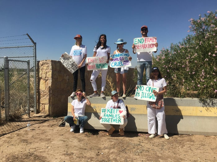 Protesters including Bella Thorne, Constance Wu, Joshua Jackson, and Lena Dunham hold signs outside the Tornillo temporary facility where children are being detained.