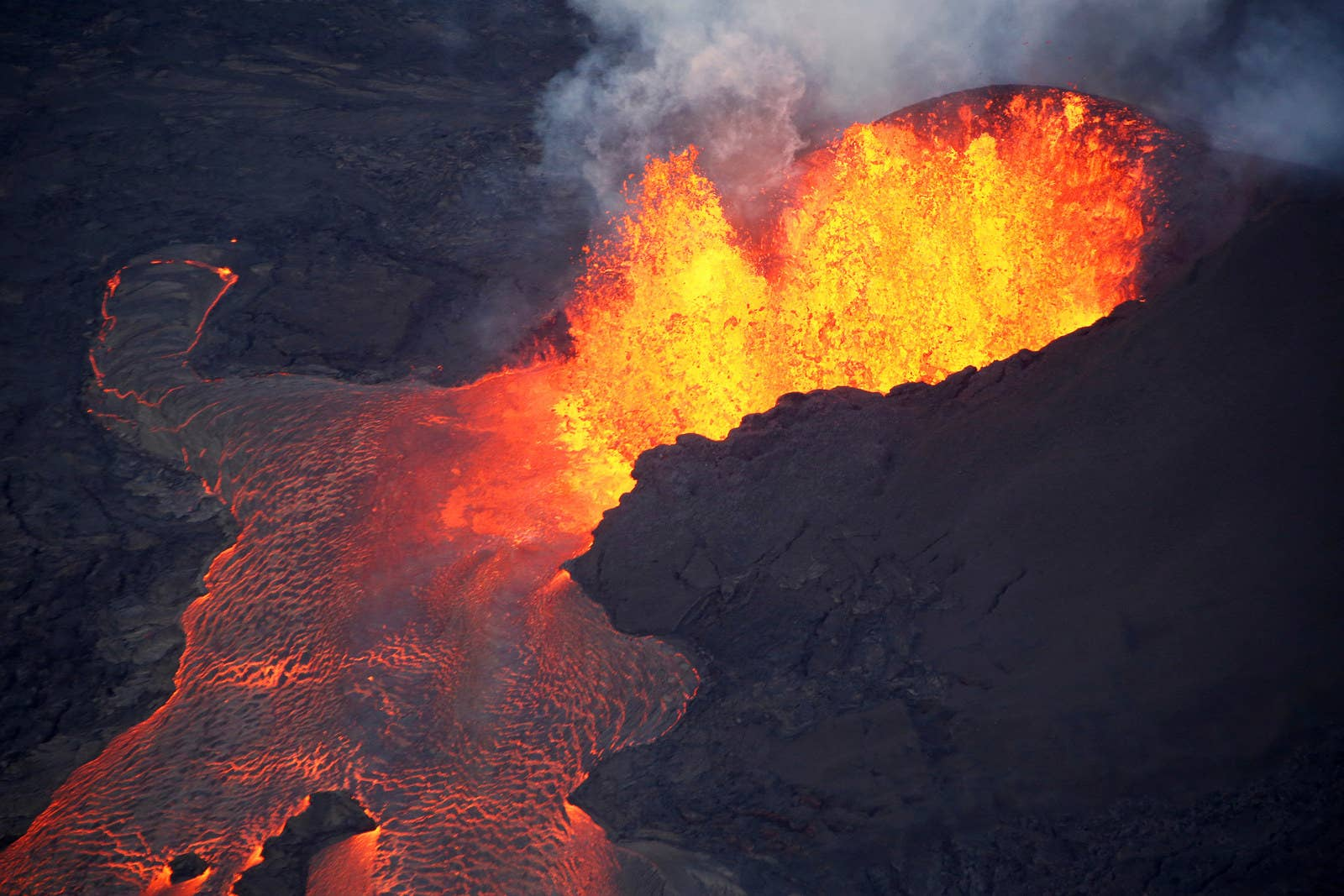Lava has spurted as high as 270 feet from fissures like this one.