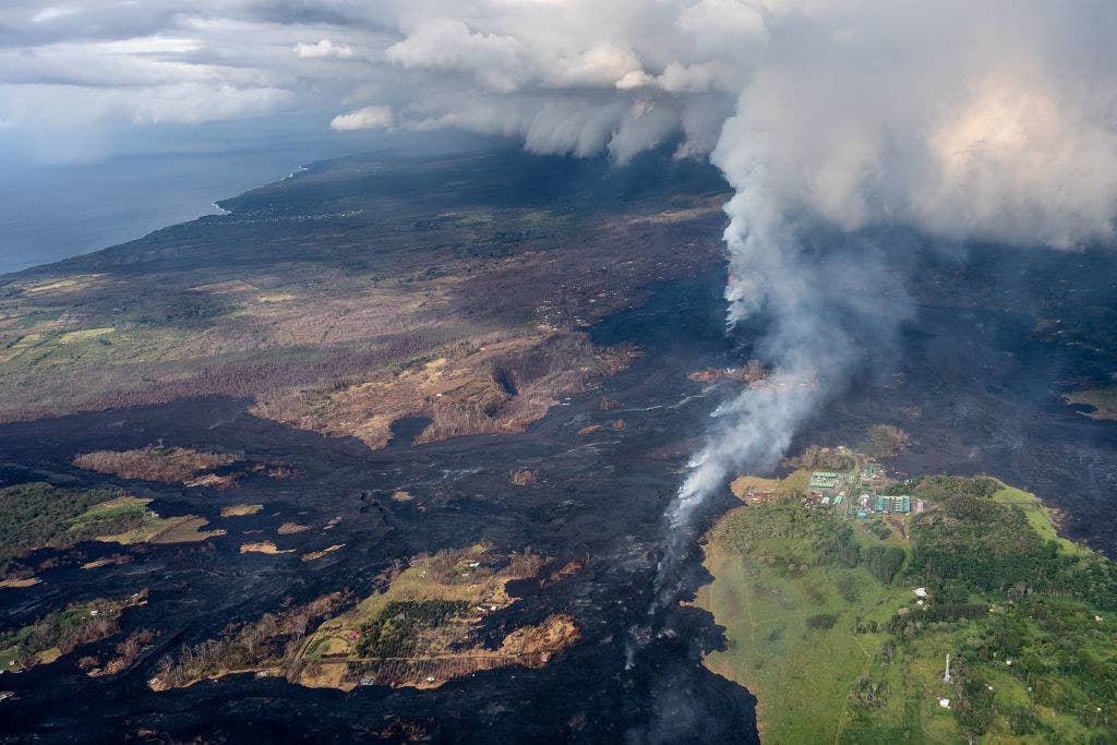This aerial photo shows how lava partially covered a geothermal plant in the area.