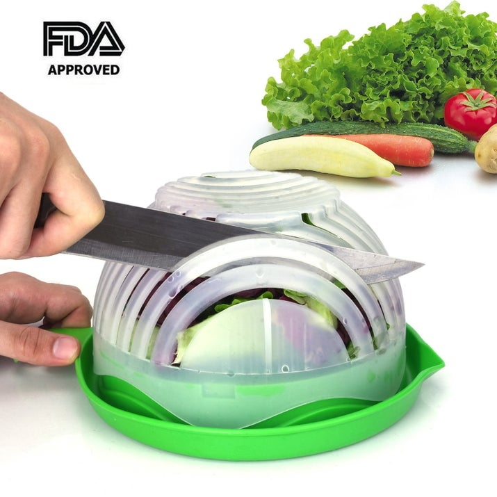 "Promising review: ""It is such a time saver; just stick your ingredients in and start slicing. I really don't have time to individually slice things, due to having three little kids running around. So this is perfect for my needs. I put lettuce, cucumber and tomatoes in the cutter bowl, and my salad came out perfect in half the time! It is made out of HDPE+PP Food Grade Material so that always is a plus! It is also dishwasher safe! The plastic isn't flimsy at all and it seems to be sturdy. I would recommend this product to anyone."" —Dan CakirGet it from Amazon for $10.99."