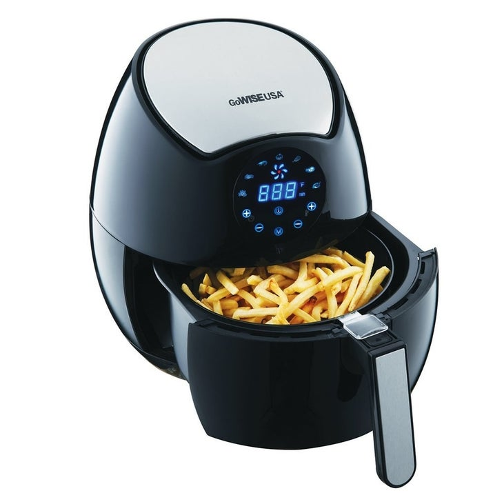 "Promising review: ""I couldn't believe that is machine would fry without oil and food would come out crispy. Boy, was I wrong. This air fryer is fantastic, and all the foods that I have prepared in this thing have come out very, very delicious. My hamburgers come out nice and juicy, and the fries come out nice and crispy, and not limp. I have made cheese sticks and also shrimp, and they come out crispy and delicious. I don't have to use any oil when I use this, and that makes me very happy. It was great using this in the summer, because I didn't have to use my oven. I am a big, big, fan of air fryers. The GoWise is great, and the price is very reasonable. I just love, love this product."" —MluzGet it from Amazon for $77.99 or a similar, highly-reviewed model from Walmart for $79.88."