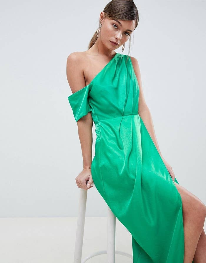 578170a4233 A one shoulder satin maxi dress so you look more sophisticated than  champagne (but you won t turn a glass down