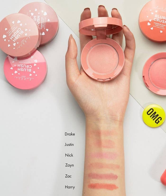 """*Thinks about that one Nick Jonas selfie* *No longer needs to put on blush*Promising review: """"I was pleasantly surprised by this little blush. It's small enough that it would be good for travel, and buildable so it could the only blush you'd need to bring. Sometimes lighter shades don't show up on me, but the pigmentation is great. It blends like a dream, and I have no complaints."""" —AlyssaGet it from Ulta for $5.49 (available in Harry, Zayn, Zac, Justin, Nick, or Drake) or Asos for $8 (available in Harry or Zayn)."""
