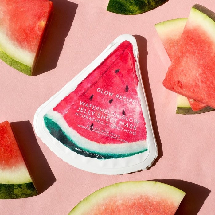 """Plus, its translucent, slightly-pink-hued jelly texture, which is made from watermelon extract and natto gum, makes it super easy to mask ~anywhere~.Promising review: """"Best sheet mask I've tried in a long time! My skin felt sooo cooled down and hydrated! I have crazy combo skin with eczema and acne, and this balanced my skin and made it look and feel wonderful. Loved it from the second it hit my face. Highly recommend it, from your beauty-loving esthetician."""" —lachellybGet it from Sephora or Glow Recipe for $8."""