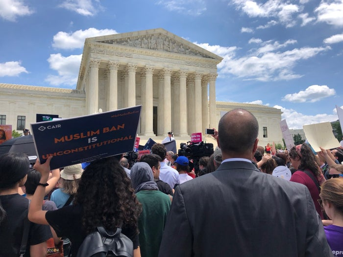 Protests outside the Supreme Court following the travel ban decision June 26.