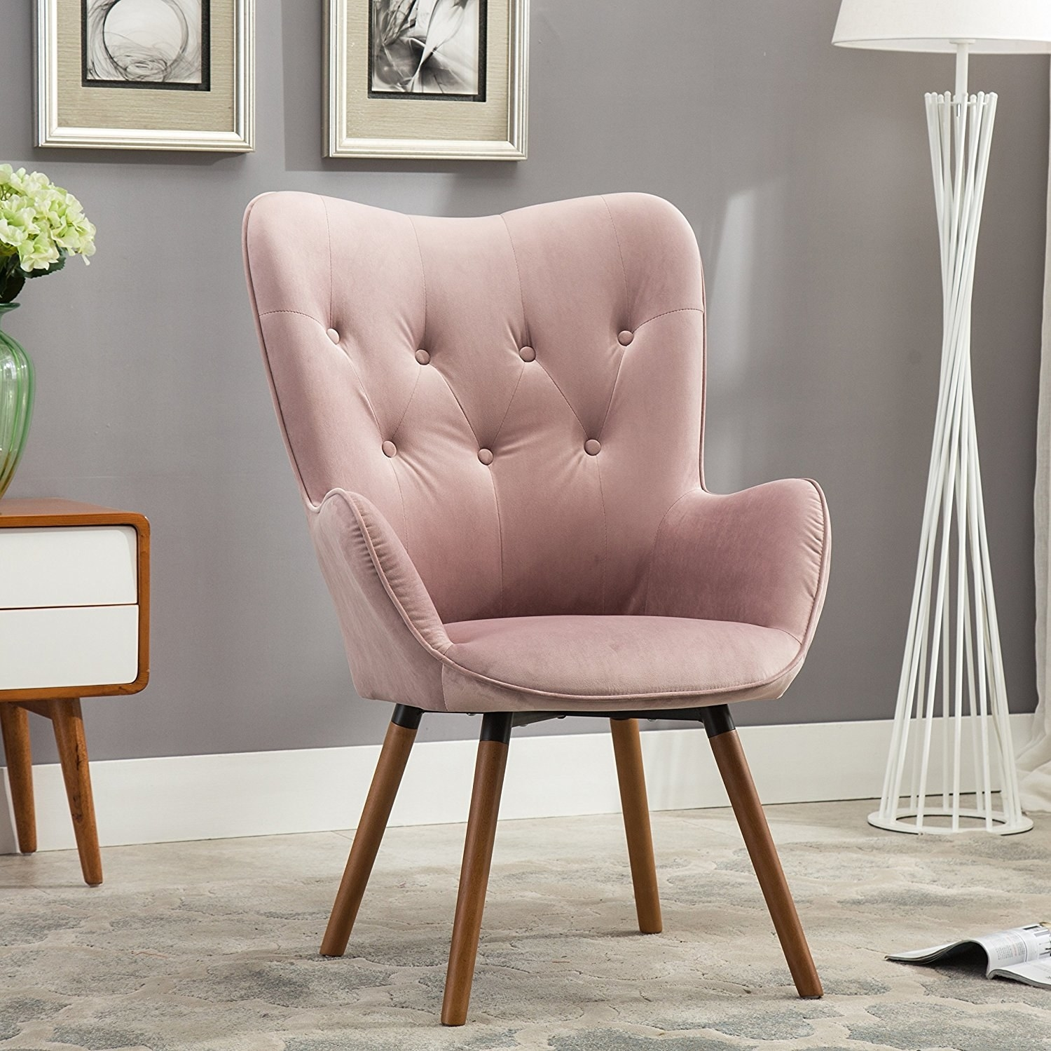 A Velvet Button Back Accent Chair Thatu0027ll Give Your Bum The Plush Treatment  It Deserves.