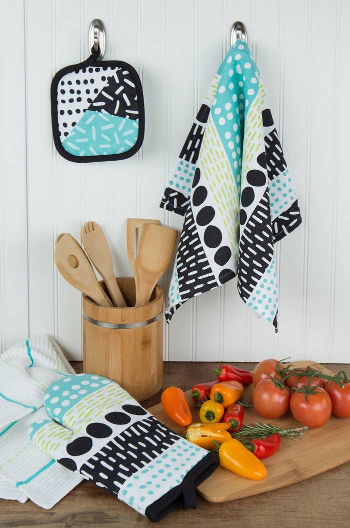 Set includes: one pot holder, two kitchen towels, and one oven mittPrice: $9.99