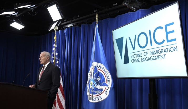 John Kelly, then the secretary of homeland security, announced the opening of the Victims of Immigration Crime Engagement (VOICE) office on April 26, 2017.