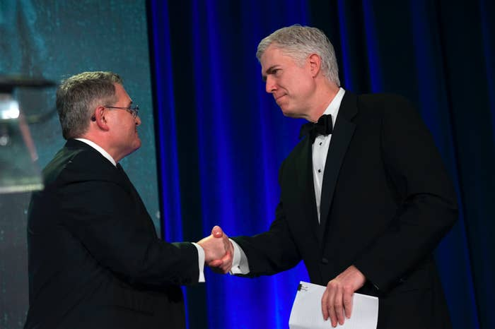 Leonard Leo (left) and Justice Neil Gorsuch at the Federalist Society's annual convention in Washington, DC, in November 2017.