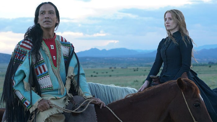 Michael Greyeyes as Sitting Bull and Jessica Chastain as Catherine Weldon in Woman Walks Ahead.
