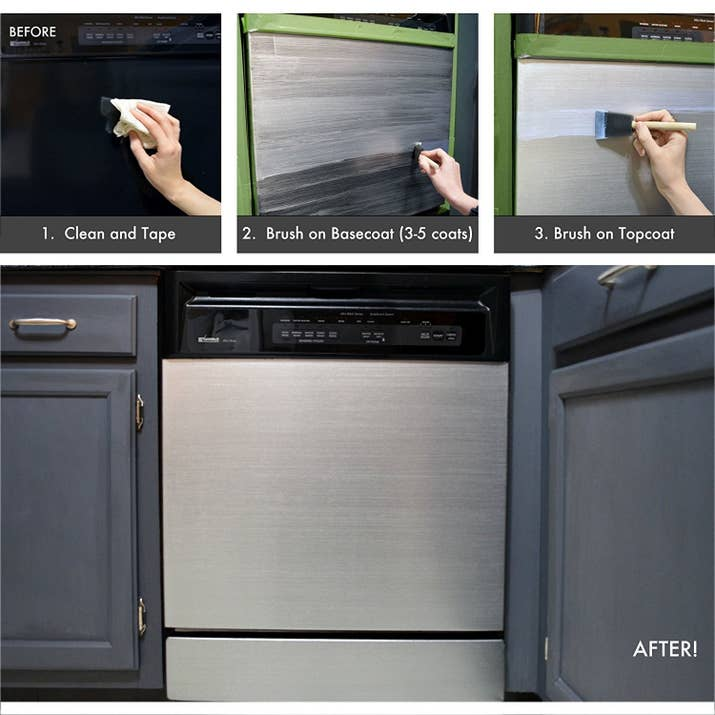 "Promising review: ""This paint rocks! I couldn't spend $2,500+ on a new stainless steel fridge, so I decided to paint the sides of my fridge a black satin and then use this product for the door and freezer door. It worked perfectly! The stainless steel dust in the product creates the stainless texture look, is durable, and will still allow magnets to stick to it."" —R. McDonnellGet it from Amazon for $24.95 (available in 1, 2, and 3 packs) or from Jet for $24.95."