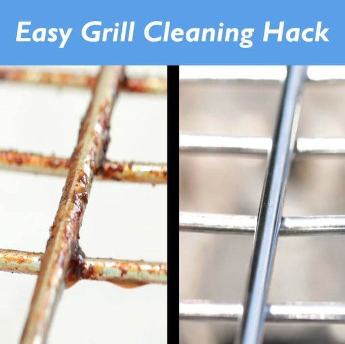 Brush oil and sprinkle salt all over the grill, then use the inside of a halved potato to scrub all the grease off. Rinse with soap and get grillin'. Learn more here.