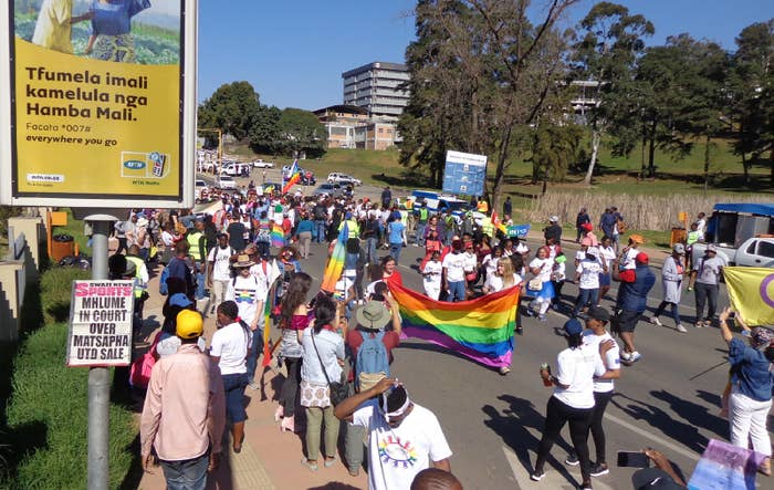 People take part in eSwatini's first Pride in Mbabane.