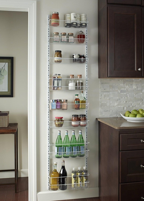 Thin, eight-shelf storage system in metal wire frame design