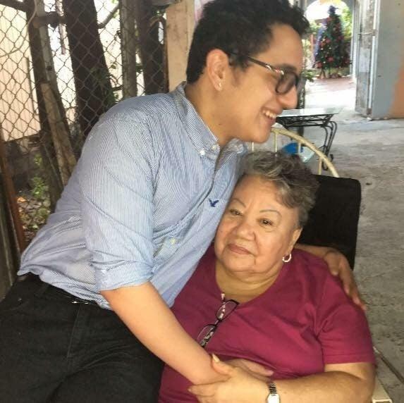 Carlos Rodriguez with his grandmother, Catalina Martinez Ortiz.