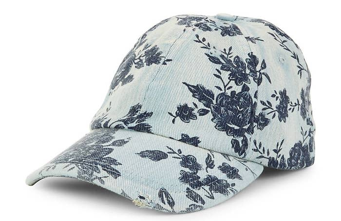 8f7c3c88e3a A Steve Madden floral denim baseball cap for saying good riddance to even  the idea of bad hair days. Just turn to the hat.