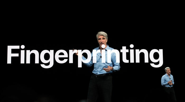Craig Federighi, Apple's senior vice president of software engineering, speaks at Apple's Worldwide Developer Conference at the San Jose Convention Center on Monday.