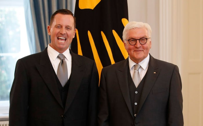 Richard Grenell (left), the US ambassador to Germany, and German President Frank-Walter Steinmeier during an accreditation ceremony for new ambassadors in Berlin.