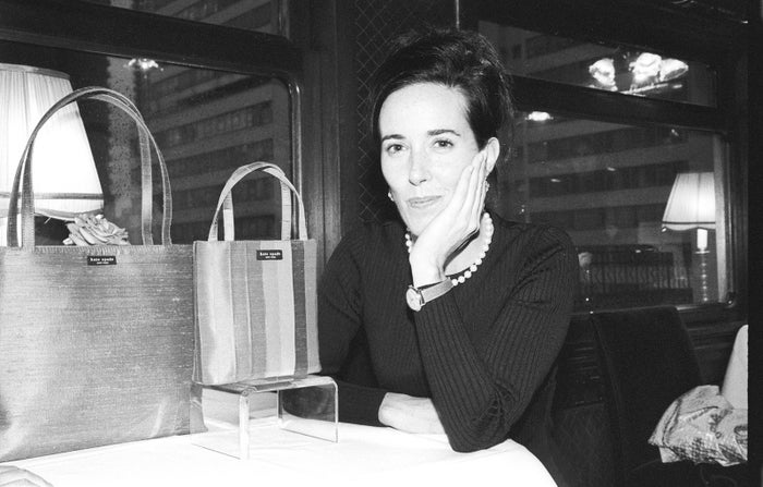 Kate Spade at an event with handbags of her own design on Oct. 9, 1998, in New York City.