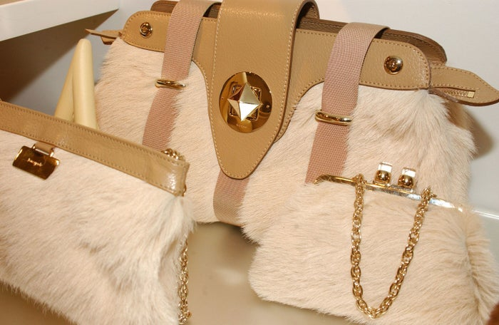 A display of purses is shown at the Kate Spade press preview on Feb. 8, 2005, in New York City.