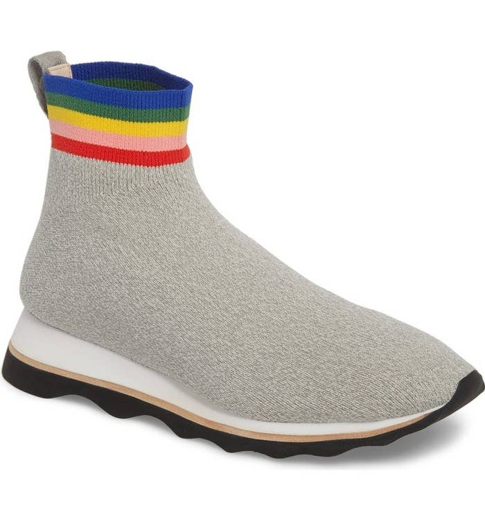 85d796d7f0523 This pair of rainbow-adorned Loeffler Randall sock sneakers perfect for  those busy weekends when you don t just want to wear another basic AF  outfit.