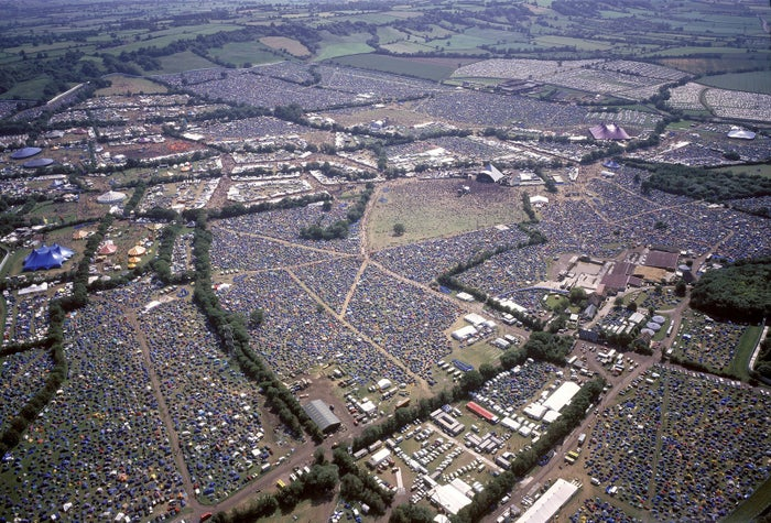 An aerial view of Glastonbury Festival in 1995.
