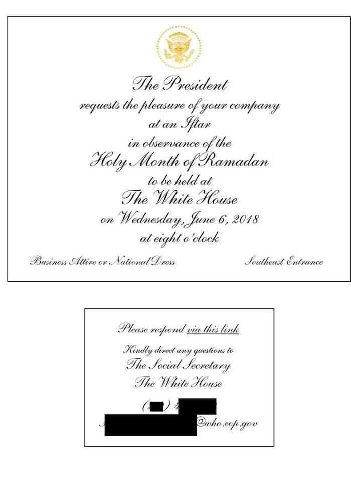 A White House iftar invitation.