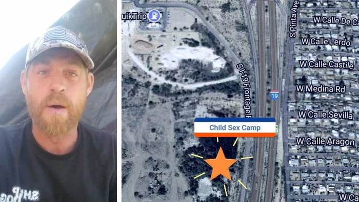 "Michael Lewis Arthur Meyer, founder of the Arizona group Veterans on Patrol, livestreaming from the site of what he claims is a ""child sex camp"" in Tucson."