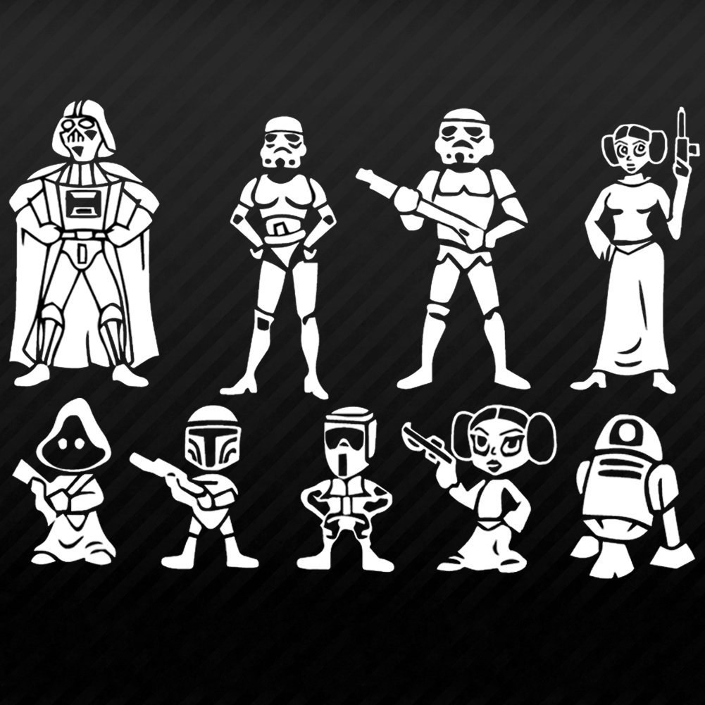 stickers of various star wars characters in two sizes to represent adults and kids in a family