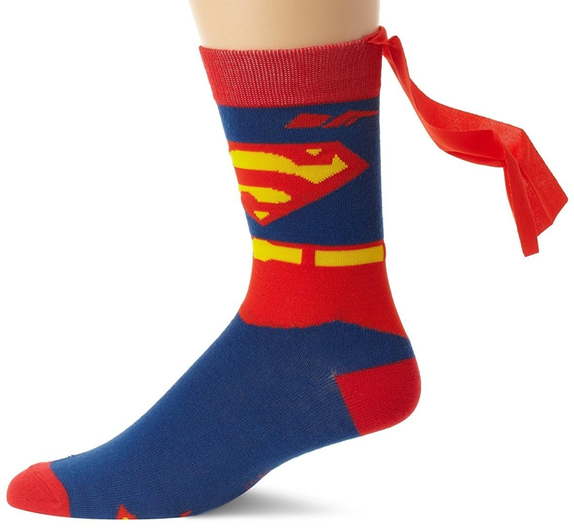 foot in superman sock with mini cape on the back