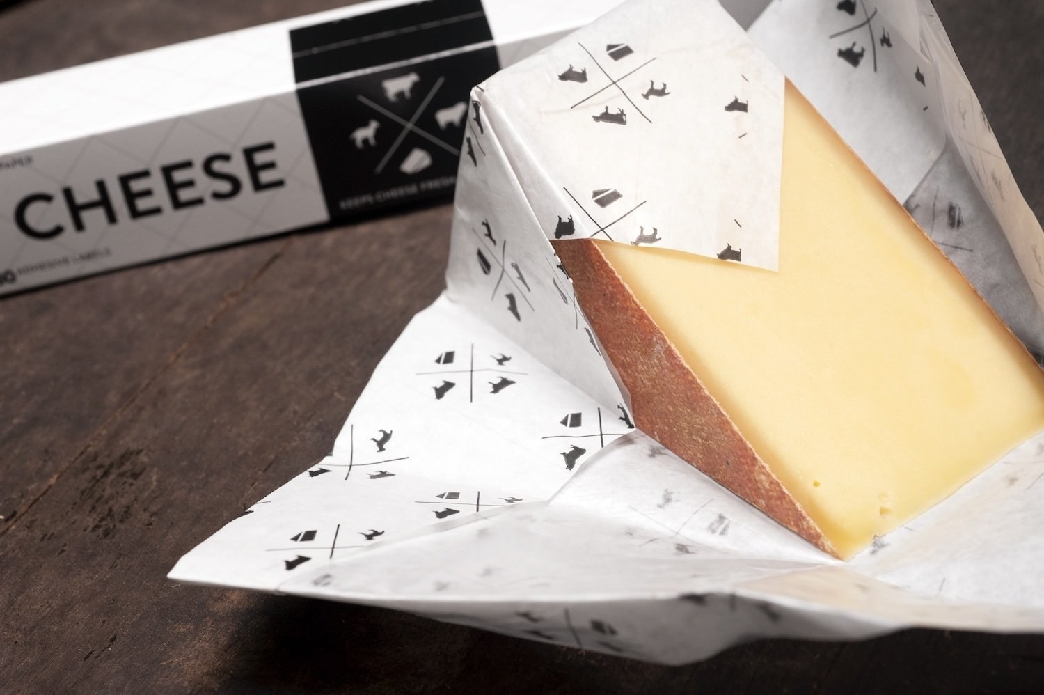 The paper wrapped around a wedge of hard cheese