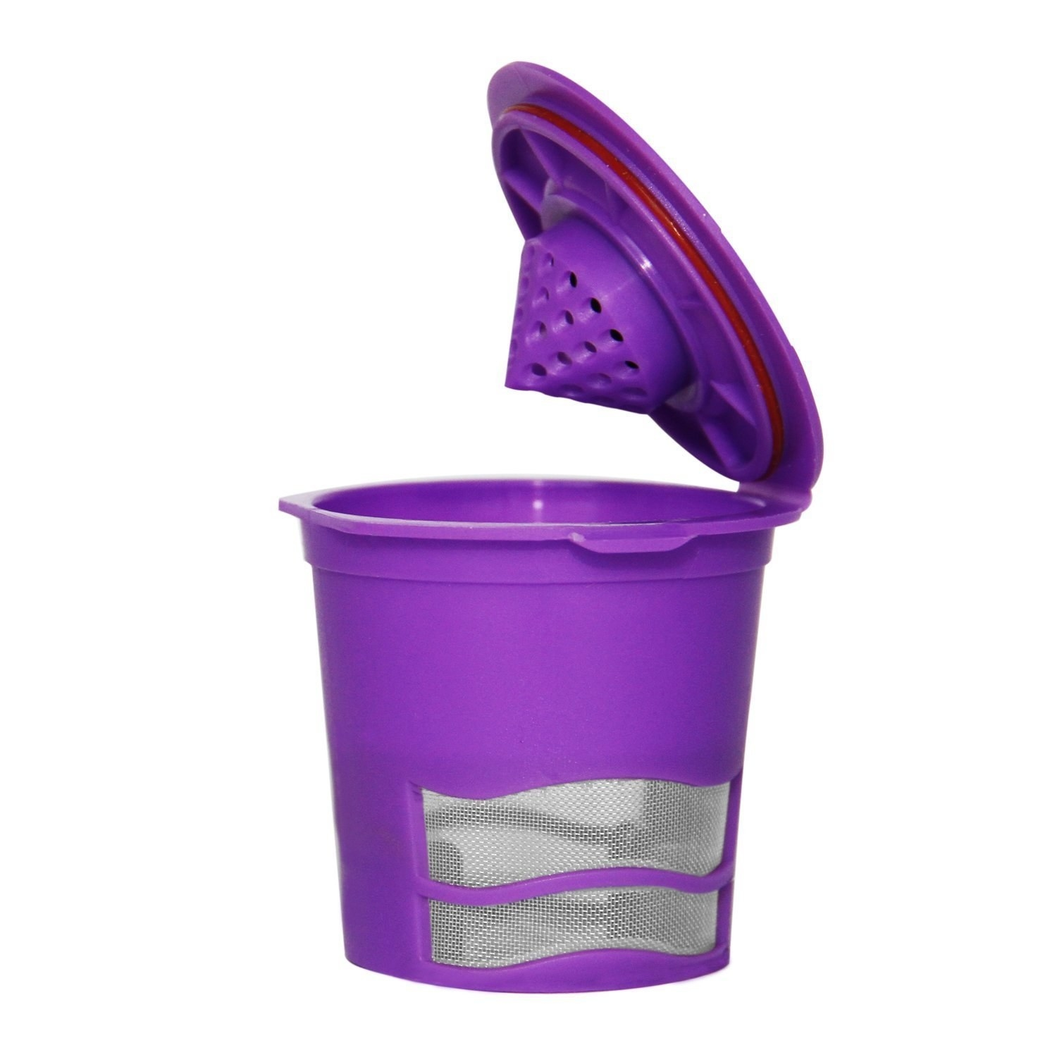 The purple and mesh pod with a lid you can open to fill with coffee