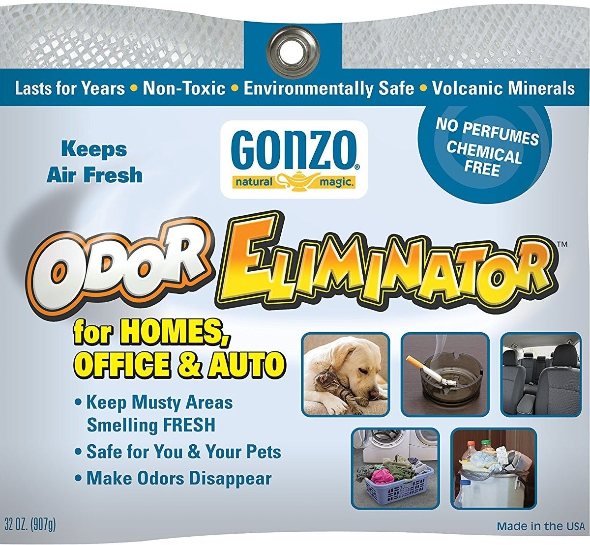 The front label of the Gonzo Odor Eliminator for homes, offices, and auto