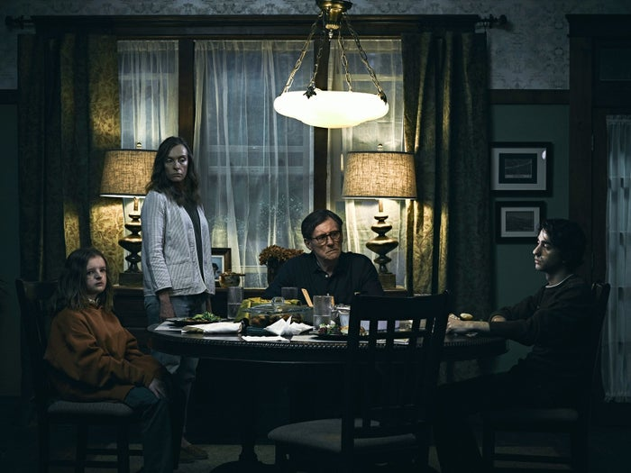 The Graham family in Hereditary: Charlie (Milly Shapiro), Annie (Toni Collette), Steve (Gabriel Byrne) and Peter (Alex Wolff).