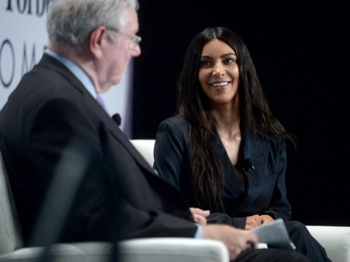Steve Forbes and Kim Kardashian at the 2017 Forbes Women's Summit.