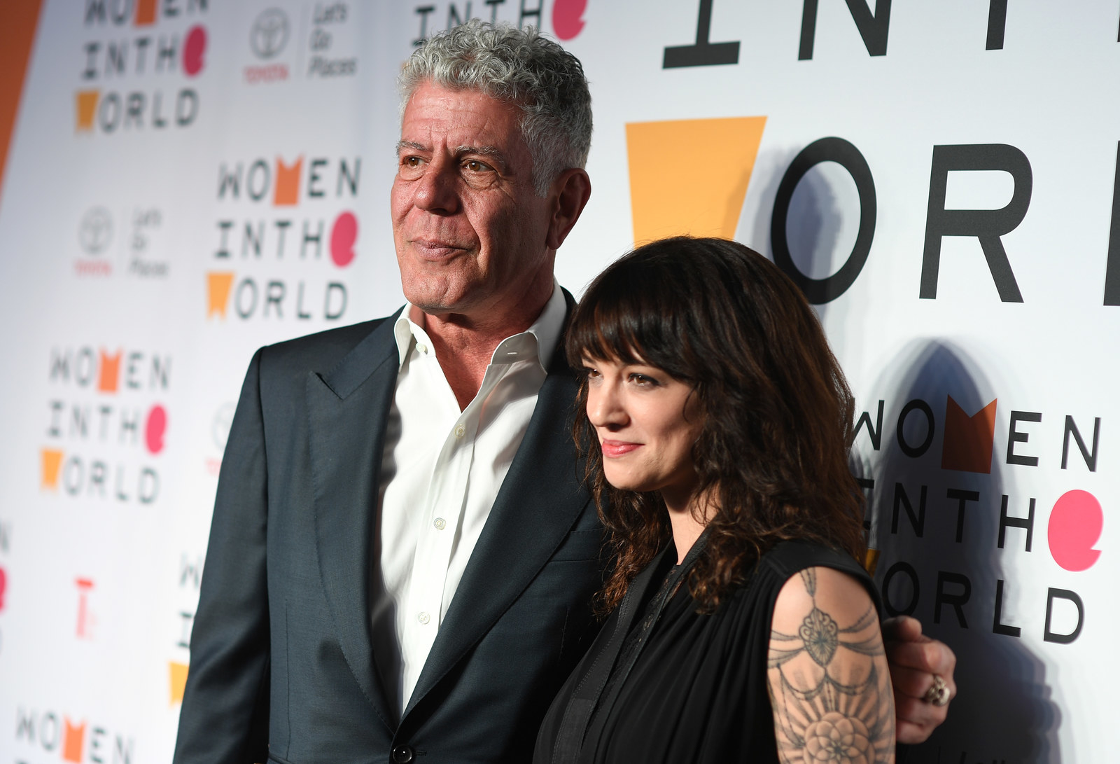 Chef Anthony Bourdain with girlfriend actor Asia Argento at the 2018 Women In The World Summit at Lincoln Center on April 12, 2018.