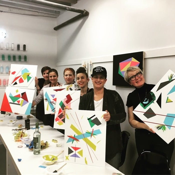 """Founded by NYC-based artist Gosha Levochkin, Dirty Hands is an art studio in Manhattan's Lower East Side neighborhood that offers fun, beginner-friendly classes like watercolor painting and the signature """"tape shit,"""" the most popular class."""