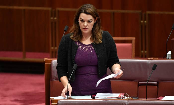 Australian Greens senator Sarah Hanson-Young in the Senate chamber at Parliament House in Canberra, Tuesday May 8, 2018.