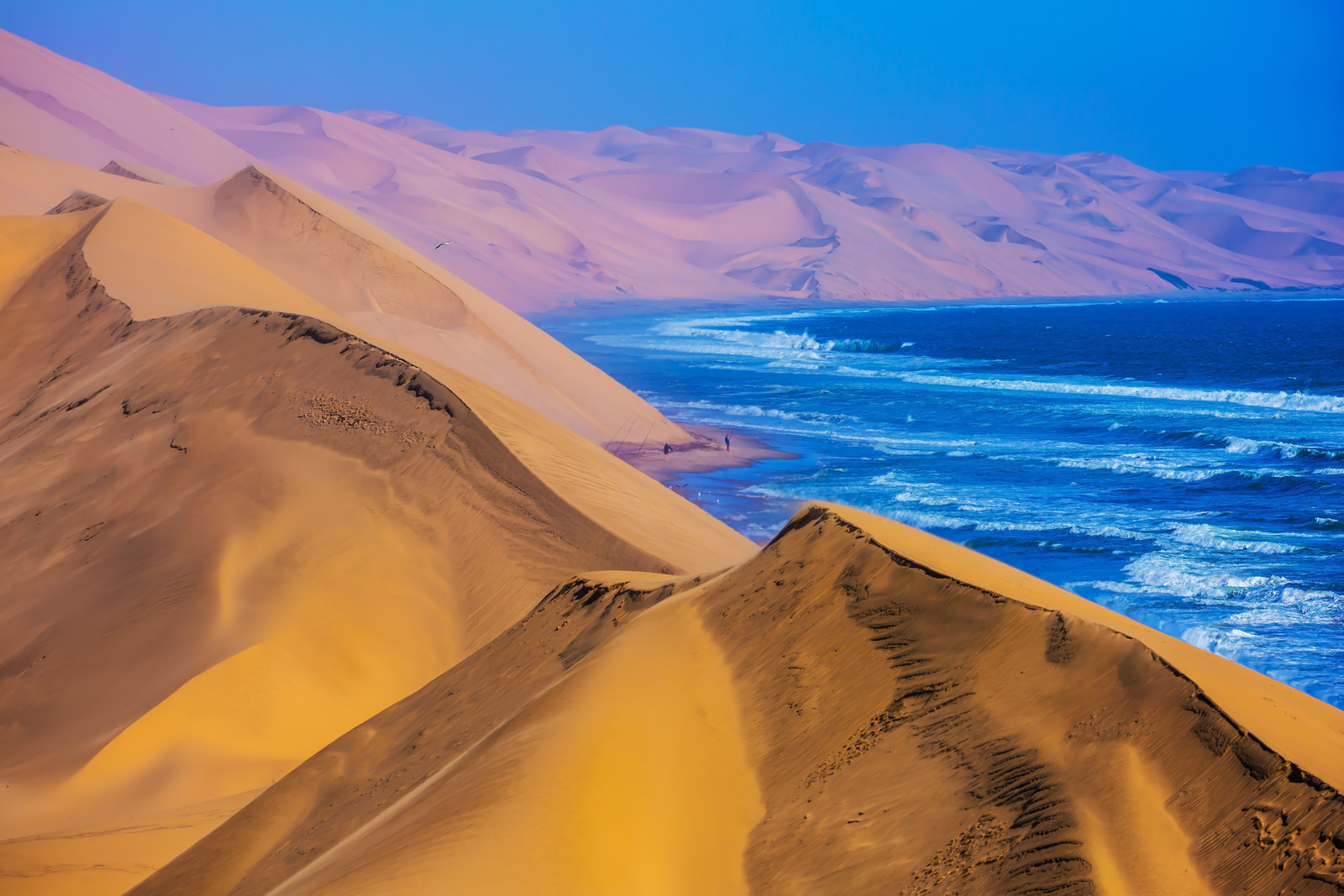 Namibia: Namib-Naukluft National Park -  So barren, the majority of this park isn't accessible for people to visit. At its northernmost point lies Sandwich Harbour, where enormous sand dunes blend into the Atlantic Ocean.