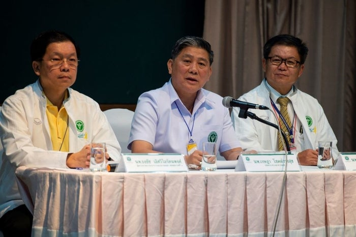 General of the Public Health Ministry, Thongchai Lertwilairattanapong (L), Dr. Jesada Chokedamrongsuk (C) and director of Chiang Rai Hospital, Dr. Chaiwet Thanapaisan (R), attend a press conference at Chiang Rai Prachanukroh Hospital in Chiang Rai on July 10.