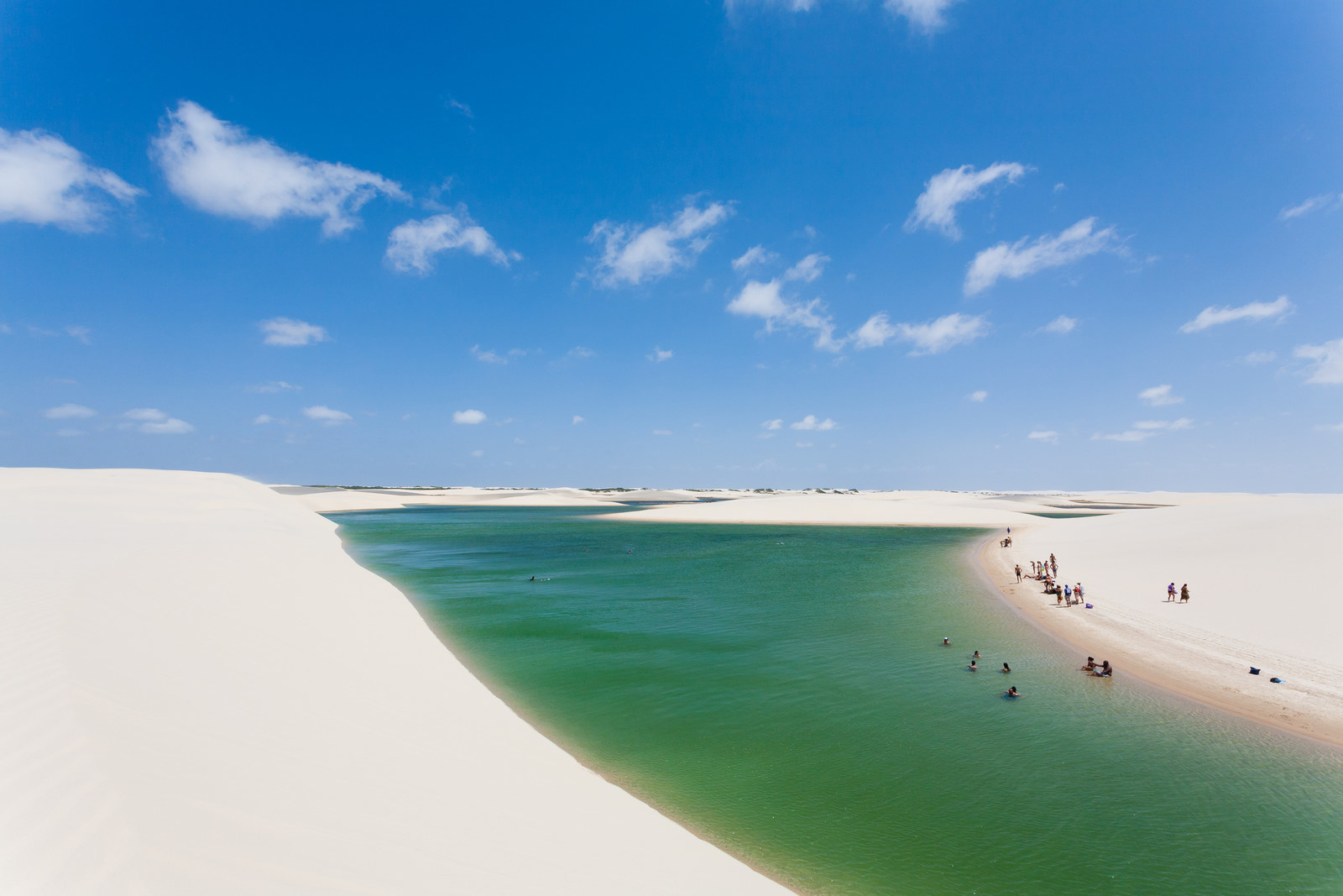 Brazil: Lençóis Maranhenses National Park -  When the rainy season comes around, these rolling sand dunes become speckled with crystal-clear, turquoise lagoons.