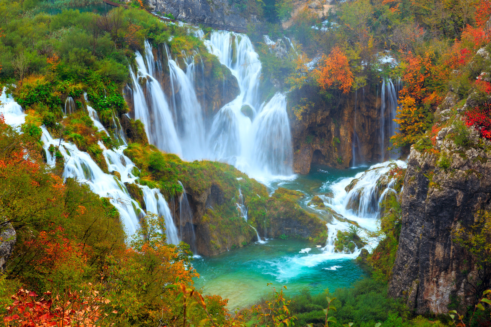 Croatia: Plitvice Lakes National Park -  This Croatian park — one of the most scenic spots in all of Europe — is made up of 16 towering lakes all joined together by cascading waterfalls.