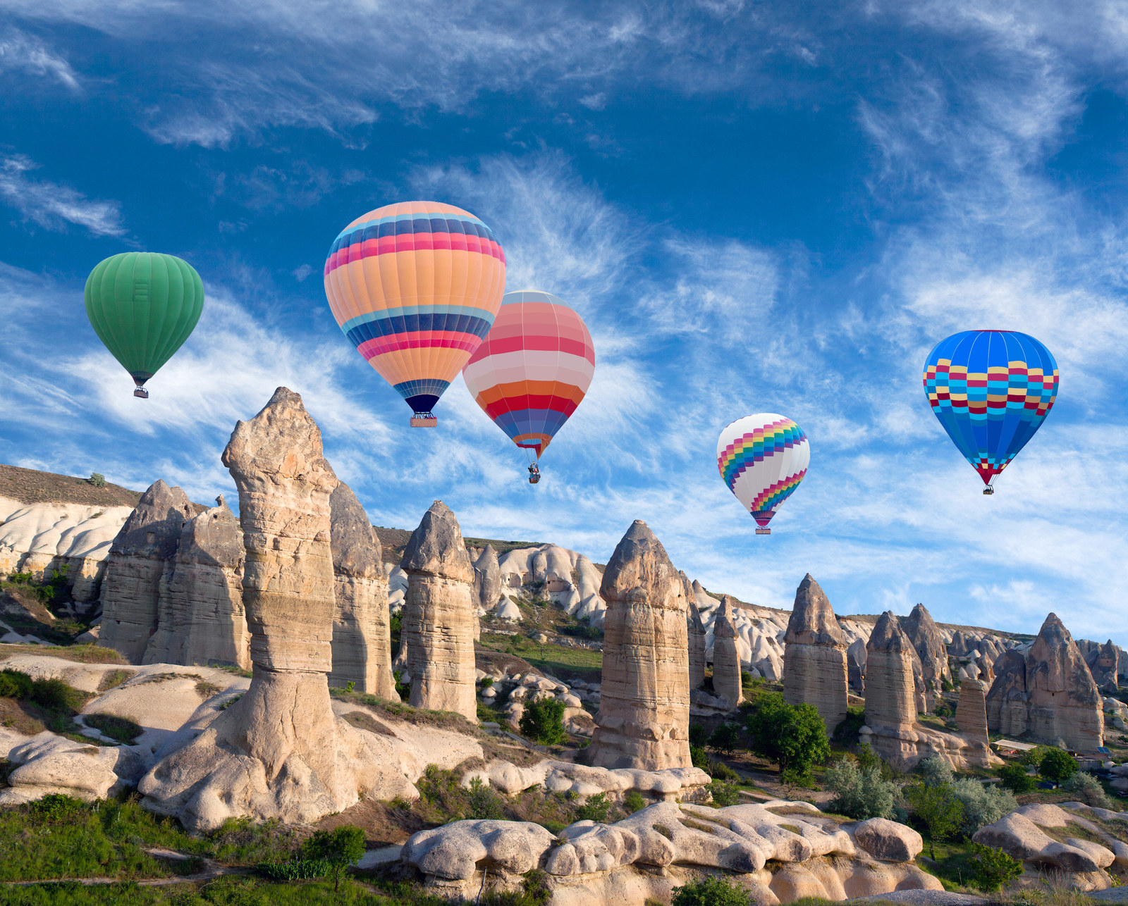 "Turkey: Göreme National Park -  Located in Cappadocia, Göreme National Park is instantly recognizable thanks to its distinctive rock formations known as ""fairy chimneys."""