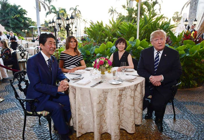 Donald and Melania Trump with Japan's Prime Minister Shinzo Abe and his wife, Akie Abe, on April 17.