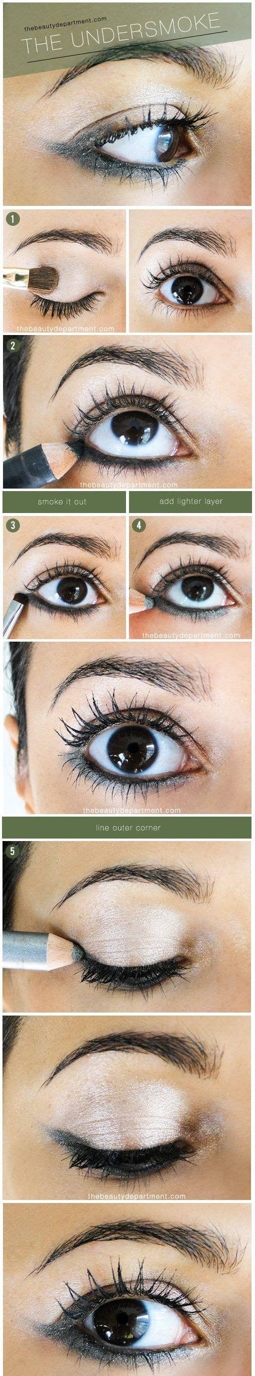 9157359f6ce Reverse your smokey cat eye by applying the winged tip from the bottom of  your eye with a Rimmel shadow stick, smudge brush, and white eyeshadow.